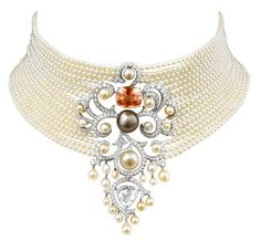 From Cartier's Secrets et Merveilles collection: Necklace made of platinum with a cushion-cut orange sapphire, fine pearls, a rose-cut diamond and brilliant-cut diamonds.- by Cris Figueired♥ I Love Jewelry, Pearl Jewelry, Antique Jewelry, Jewelry Box, Jewelry Accessories, Vintage Jewelry, Jewelry Necklaces, Fine Jewelry, Jewelry Design
