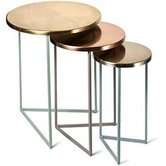 Buy the Metallic Metallic Round Nesting Tables Set of Three at Oliver Bonas. We deliver Homeware throughout the UK within working days from Metal Furniture, Living Room Furniture, Diy Furniture, Furniture Design, Furniture Stores, Dining Rooms, Diy Cnc Router, Iron Table, Room Accessories