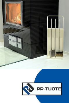 PP-TUOTE from Finland – 'Takkasetti' Fireplace Set/Fireside Companion in Steel, White Fireplace Set, Tool Steel, Shovel, Aluminium, Hearth, Poker, Ash, Tools, Traditional