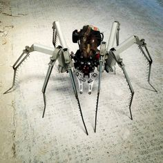 My Post Apocalypse Cyber Spider - now at the gallery at Tower Hill #spider #recycle #scrap