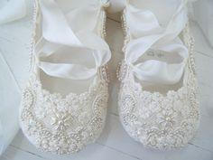 Ivory Ballet Flats Wedding Shoes Bridal Ballet Flats by BobkaBaby, $225.00