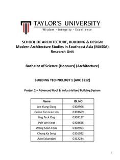 SCHOOL OF ARCHITECTURE, BUILDING & DESIGN Modern Architecture Studies in Southeast Asia (MASSA) Research Unit Bachelor of ...