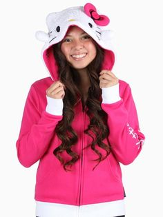 Be and warm cute in this adorable Hoodsbee Plush Hoodie that turns into a plush Hello Kitty friend.
