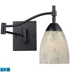 Celina 1 Light LED Swingarm Sconce In Dark Rust And Snow White 10151/1DR-SW-LED
