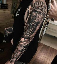 70 native american tattoo designs native american tatttoos т Indian Chief Tattoo, Indian Headdress Tattoo, Native Indian Tattoos, Tribal Tattoos Native American, American Indian Tattoos, Sleeve Tattoos For Women, Tattoo Sleeve Designs, Leg Tattoos, Body Art Tattoos