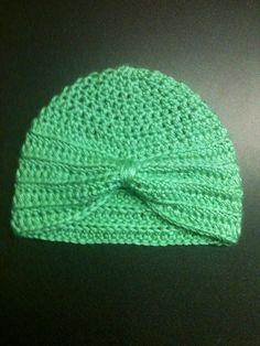 Crochet Baby Turban Hat Crochet Baby Hat by TheTastefulHooker Crochet Turban, Crochet Beanie, Knit Crochet, Crochet Dolls Free Patterns, Crochet Flower Patterns, Knitting Patterns, Crochet Baby Boots, Baby Blanket Crochet, Baby Turban