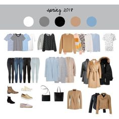 Spring Capsule Wardrobe 2018 by tanja-rode on Polyvore featuring Victoria Beckham, Acne Studios, River Island, H&M, The Mercer N.Y., 360 Sweater, Stampd, R13, MaxMara and Theory