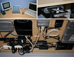Hidden under desk mounted computer & electrical components storage area using pegboard for mounting and hiding this stuff...No more tangled masses of cords under your desk and at your feet!