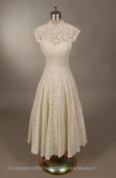 White Lace Cocktail Dress with Peter Pan Collar, 1950-1956.