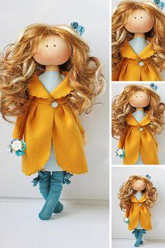 Fabric doll Muñecas Orange doll Poupée Art doll Puppen Gift Fabric Dolls, Rag Dolls, Soft Dolls, Nursery Decor, Etsy Shop, Gifts For Kids, Action Figures, Christmas Ornaments, Toys