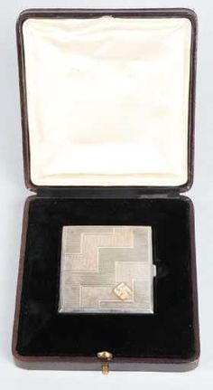 ADOLF HITLER SILVER & DIAMOND CIGARETTE CASE