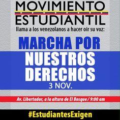 El #MovientoEstudiantil hace un llamado de #Protesta en #Caracas, 02 de noviembre de 2016 ; día Miércoles; #Venezuela para mañana 03 de los corrientes...  @CESCURAINA/P.M.I & V.I.P en Twitter