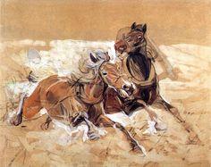Szkic Koni by Jozef Chelmonski Horse Art, Gouache, Poland, Horses, Watercolor, Classic, Artist, Painting, Animals