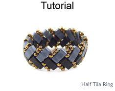 Beading Tutorial Pattern - Beaded Ring - Miyuki Half Tila Beads - Simple Bead Patterns - Half Tila Ring #24523