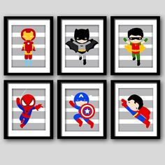 PICK+FOUR+Super+hero+wall+art+boys+room+art+by+AmysSimpleDesigns,+$24.00