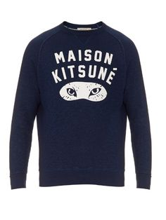 25799544900d There s always an underlying sense of wit to Maison Kitsuné s designs. Take  this indigo cotton sweatshirt  it s printed with the label s logo in bold  white ...