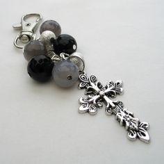Bag Charm Decorative Cross with Black and Grey Agate £6.50
