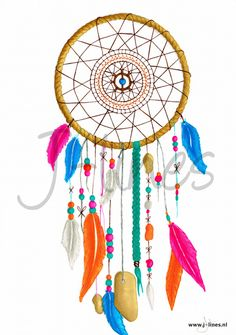 #Drawing of a #Dreamcatcher on A2 size paper.  Used materials: - #cansonpaper  #copicmultiliner #pencil  #promarkers #color  #retro  #vintage #feathers #hippie