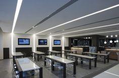 Proyecto Restauración, iluminación empotrada en pared y techo de Norlight modelo OnOff. Diseño para oficinas, restauración, hoteles y contract. (Espacio Aretha agente exclusivo para España)
