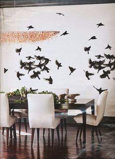 birds at dinner room Wallpaper Maker, Of Wallpaper, Pattern Wallpaper, Living Room Inspiration, Interior Inspiration, Design Inspiration, Dinner Room, Black And White Wallpaper, Creative Walls