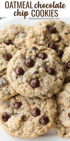 These Oatmeal Chocolate Chip Cookies are thick, soft, and chewy, with plenty of hearty old fashioned oats and creamy chocolate chips. Healthy Oatmeal Cookies, Oatmeal Cookie Recipes, Chocolate Cookie Recipes, Oatmeal Chocolate Chip Cookies, Easy Cookie Recipes, Baking Recipes, Soft Cookie Recipe, Cookies With Oats, Raisin Cookies