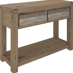 Product Description Create a WOW Factor to your hall way or entry with the Colorado Console Table. Constructed from Acacia Wood and finished in a Brushed Sand colour, with mixed colours on the drawers. This piece features 2 equal size drawers and features an open shelf.
