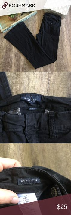 """American Eagle Boho Artist Pants Color is black  Flare at the boot  In excellent condition  Size: 6Long  Waist: 15"""" Inseam: 34"""" Rise: 8"""" American Eagle Outfitters Pants Boot Cut & Flare"""