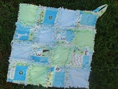 Flannel Rag Security Blanket   Blue and Green with by AuntBugs, $18.00