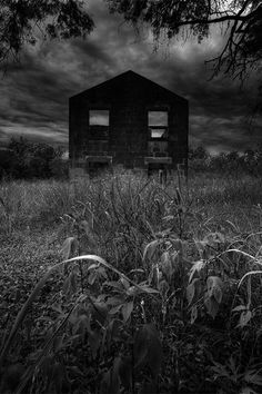 Homestead - eerie infrared hdr abandoned house dark macabre halloween fine art photography.