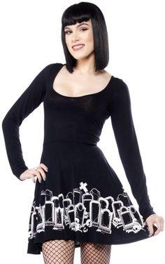 Sourpuss Gothic Grave Digger Skater Dress