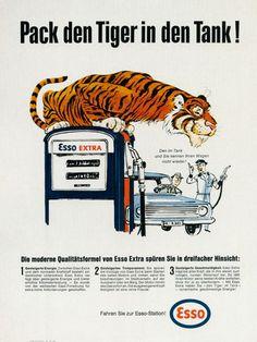 """Alte ESSO-Werbung mit dem Slogan """"Pack den Tiger in den Tank!"""""""