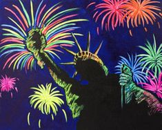 """Social Artworking Canvas Painting Design - Rocket's Red Glare Lady Liberty stands tall and proud, a welcoming beacon to newcomers and a reassuring presence to the residents of her country. This painting would be a perfect way to while away a hot afternoon along with a glass of lemonade and cool watermelon. Or maybe wine coolers?  CANVAS SIZE:  16"""" x 20""""  TIME TO PAINT:  approximately 1 hour 30 minutes"""