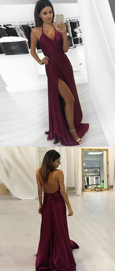Simple v neck burgundy long prom dress, evening dress, burgundy formal dress for teens