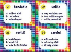 Prefixes & Suffixes - 24 Task Cards for Scoot or Literacy Centers