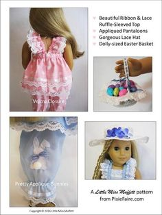 The Little Miss Muffett Easter Parade Bundle 18 inch Doll clothes pattern. Create a feminine Easter ensemble with this three piece outfit and crocheted basket pattern.