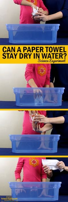 Can a Paper Towel Stay Dry in Water - Simple, Quick and Easy 3 Item Science Experiment for Kids will leave them amazed! #Science #CoolScienceHQ #ScienceExperiments