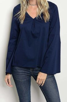 This blouse is lightweight and a little stretchy fabric. V-Neck and has tuck detail front and loose fit. Great for work or just casual outfit when you pair with your favorite jeans. Navy Blouse, Navy Tops, Casual Outfits, Bell Sleeve Top, V Neck, My Style, Sleeves, Fabric, Clothes