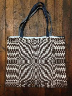 Hand woven cotton overshot flower tote bag by HandWovenHistory, $30.00