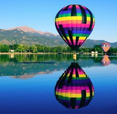 Pikes Peak Reflections of the Colorado Balloon Classic on Prospect Lake, Memorial Park by Beverly & Pack Top Vacation Destinations, Vacation Spots, Pikes Peak, Air Ballon, Hot Air Balloon, Balloon Rides, Memorial Park, We Are The World, Travel Usa