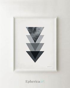Black triangles geometric art, Minimalist black white print, Modern art for office decor Printable wall decor art print  by EphericaArt