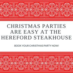 Believe it or not it is time to start thinking about your Christmas Party!  At the Hereford Steakhouse we tailor events for you.   Whether it be a standing cocktail party, sit down dinner or Christmas buffet.  Give us a call on 02 6732 2255 for all Christmas Party enquiries.  Get in early and get your party organised before the Christmas madness begins.