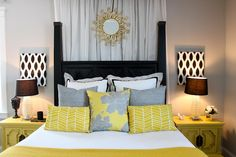 Master bedroom- grey and yellow