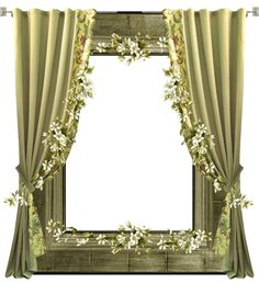 Green Transparent PNG Frame with Curtain