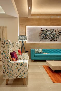 The Turquoise House Mixes Traditional & Mediterranean Styles : The design of this modern house mixes traditional Indian style and Mediterranean style. A show home tastefully designed by Ace Associates. Living Room Sofa Design, Bedroom Furniture Design, Home Room Design, Home Decor Furniture, Home Decor Bedroom, Home Living Room, Home Interior Design, Living Room Designs, Interior Home Decoration