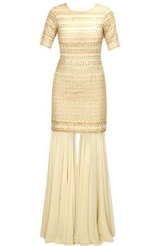 Cream and gold embroidered kurta set with gharara pants available only at Pernia's Pop-Up Shop.