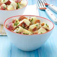 Top 10 Potato Salad Recipes - A popular side at parties and potlucks, you can't go wrong with these top-rated potato salad recipes. From classic German potato salad to dishes loaded with bacon, find a crowd-pleasing recipe from this collection! Bacon Recipes, Potato Recipes, Salad Recipes, Cooking Recipes, Potato Ideas, What's Cooking, Vegetable Recipes, Drink Recipes, Dinner Recipes