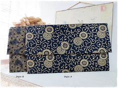 Large envelope clutch purse japanese black by KawaiiSakuraHandmade