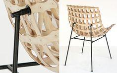 Jens Otten. Experimentelle Elastostatik, 2008. Chair made from flat components, cnc milled birch, frame tubular steel