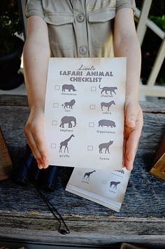 "Modern Safari Party - Animal Safari Checklist - 5""x7"" INSTANT DOWNLOAD PDF Printable, Safari Expedition, Scavenger Hunt, by EmilyEntertains on Etsy"