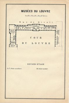 1910 Antique floor Plan of Louvre Museum Paris France by Figure10
